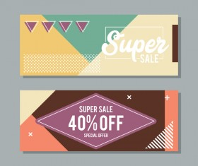 Super sale discount banner template vectors 01