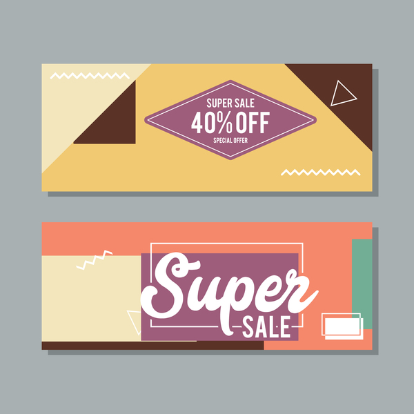 Super sale discount banner template vectors 02