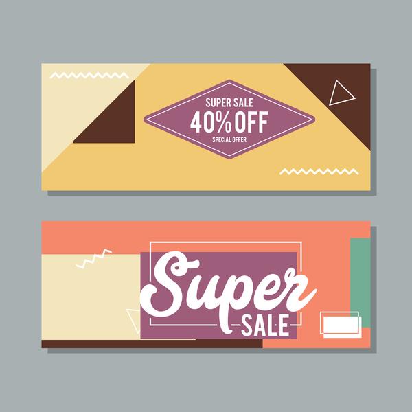 Super sale discount banner template vectors 02
