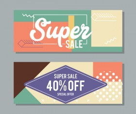 Super sale discount banner template vectors 03