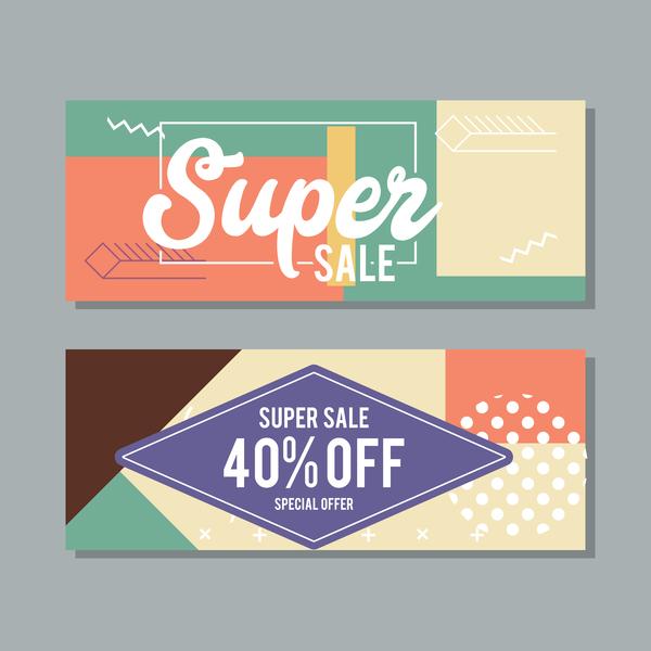 Super sale discount banner template vectors 03