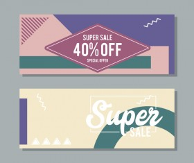 Super sale discount banner template vectors 04