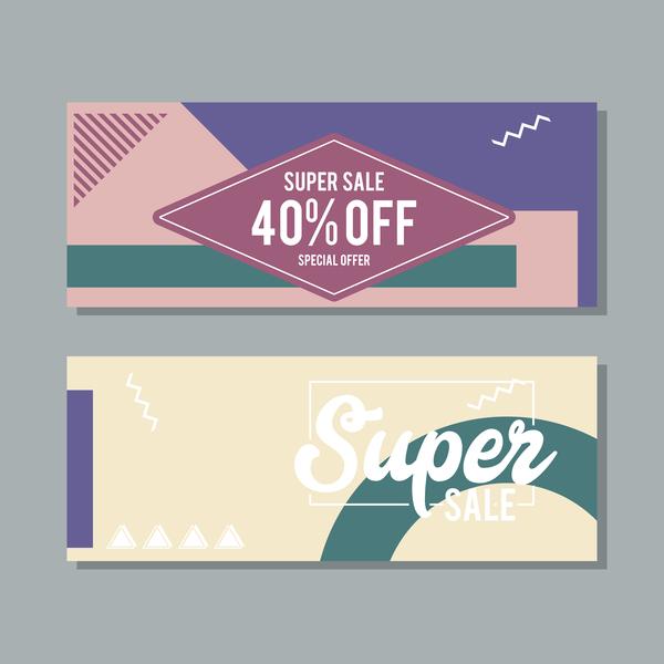Super sale discount banner template vectors 04
