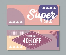 Super sale discount banner template vectors 05