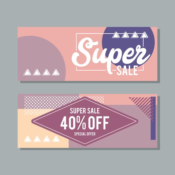 Super sale discount banner template vectors 05
