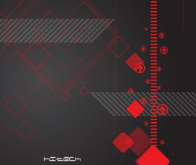 Tech background red with black vector