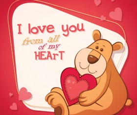 Teddy bear with Valentine card vector