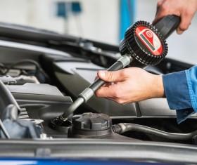 Testing gear oil Stock Photo