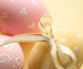 Tie ribbon yellow Easter egg Stock Photo 01