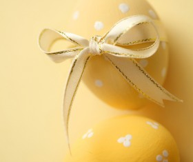 Tie ribbon yellow Easter egg Stock Photo 02