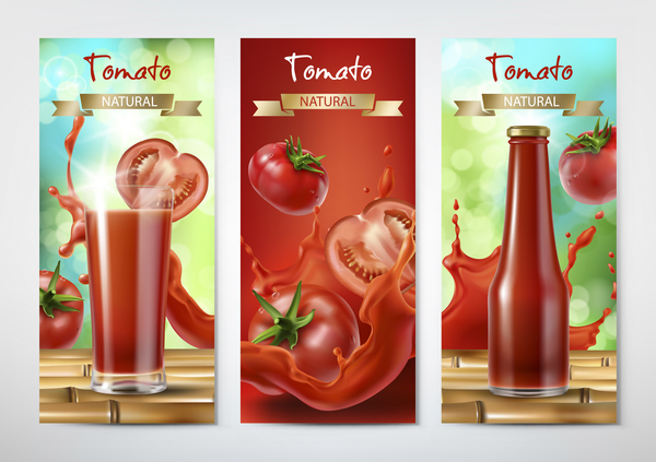 Tomato natural drink banner vector
