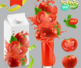 Tomato vegetables splash of juice vector