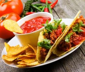 Tortilla chips and ketchup Stock Photo 01