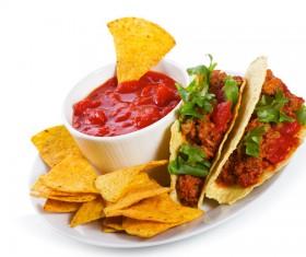 Tortilla chips and ketchup Stock Photo 02