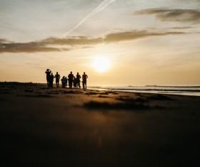 Tourist enjoy sunset Stock Photo