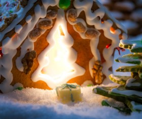 Translucent Christmas cookies house Stock Photo
