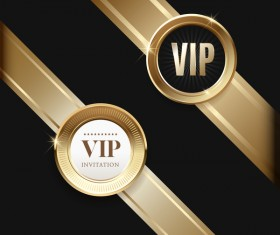 VIP badge with golden ribbon vector