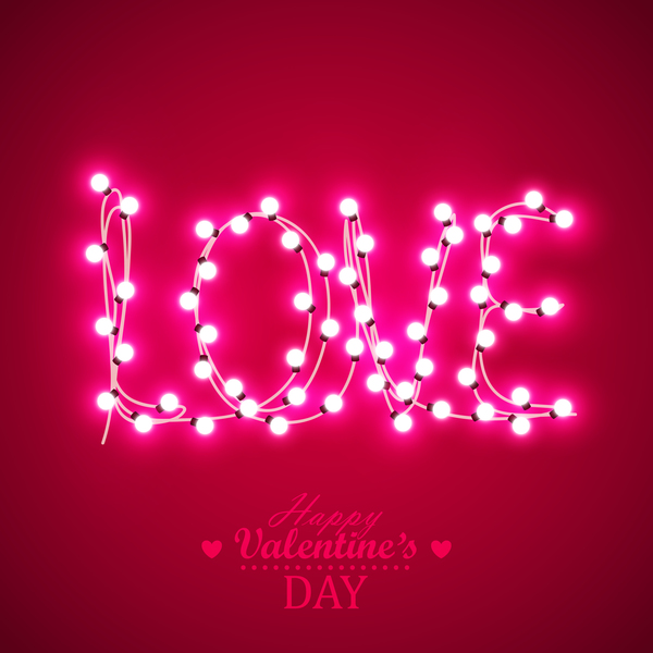 Valentine background with light bule vector 01