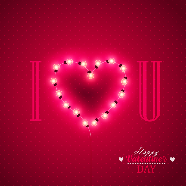 Valentine background with light bule vector 02