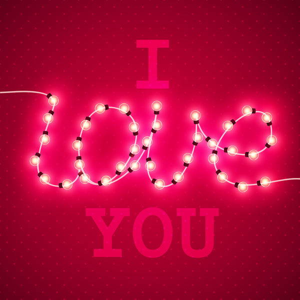 Valentine background with light bule vector 03