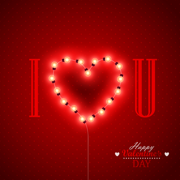 Valentine background with light bule vector 05