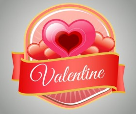 Valentine badge with love vector