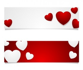 Valentine banners red with white vector