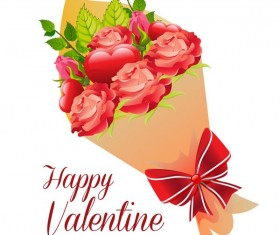 Valentine bouquet flower vector