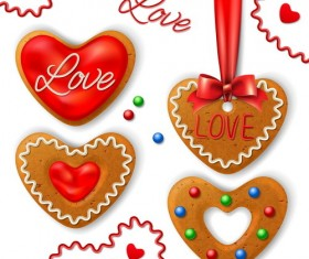 Valentine cookies decorative vectors material