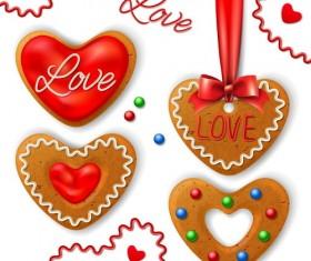 Valentine cookies decorative vectors material