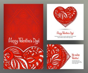 Valentine day card template vector kit 01