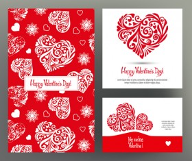 Valentine day card template vector kit 02