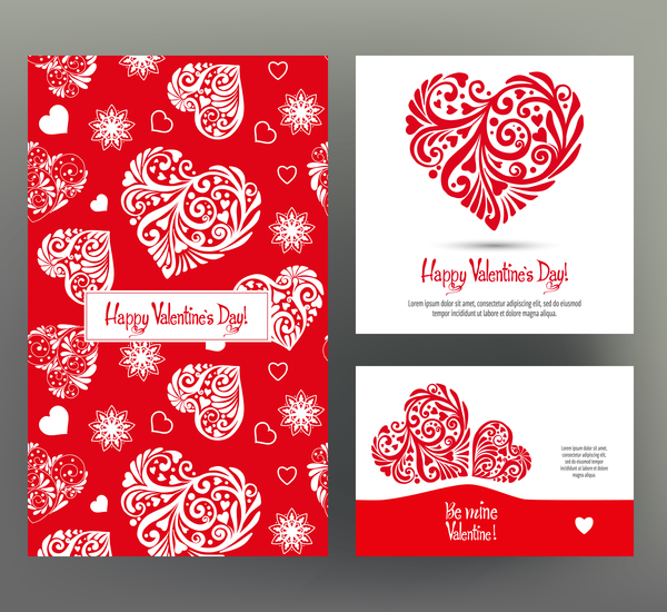 valentine day card template vector kit 02 free download