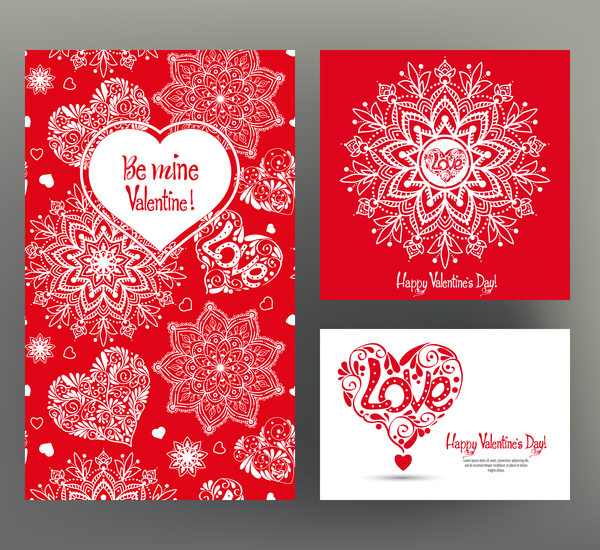 Valentine day card template vector kit 04 free download