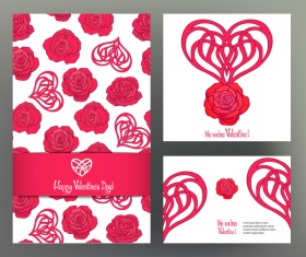 Valentine day card template vector kit 05