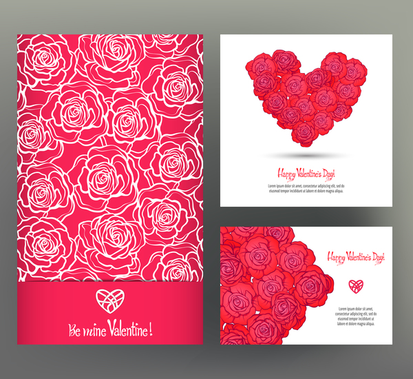 valentine day card template vector kit 06