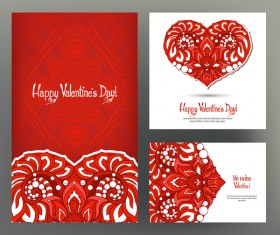 Valentine day card template vector kit 07