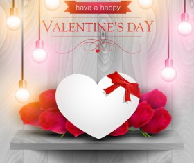 Valentine day card with wooden background vector