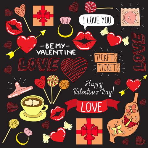 Valentine decorative vectors illustration set