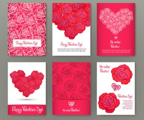 Valentine flyer with brochure cover template vector 01