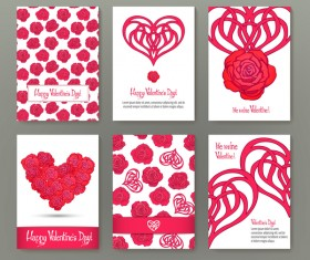 Valentine flyer with brochure cover template vector 02
