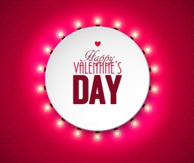 Valentine light bulb frame design vector 04