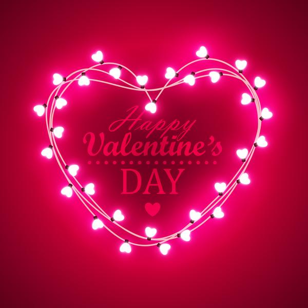 Valentine light bulb frame design vector 05