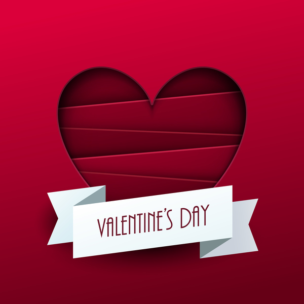 Valentine ribbon banner with red background vector