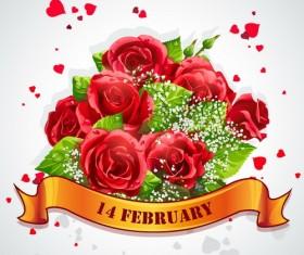 Valentine rose lebel vector material 02