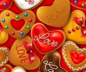 Valentine seamless pattern with cookies vector