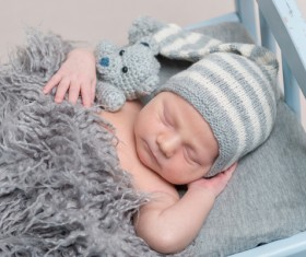 Various sleeping position cute baby Stock Photo 04