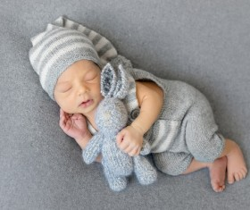 Various sleeping position cute baby Stock Photo 06