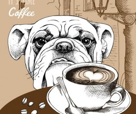 Vintage Coffee with european street and dog vector