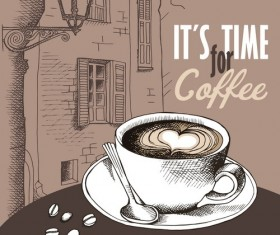 Vintage Coffee with european street vector material 01